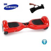 """Skate Elétrico Hoverboard 6.5"""" VERMELHO Bluetooth e LED com Bolsa - Bateria Samsung - Smart Balance -"""