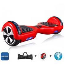 """Skate Elétrico Hoverboard 6.5"""" VERMELHO Bluetooth e LEDs com Bolsa - Bateria Samsung - Smart Balance -"""