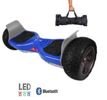 "Skate Elétrico Hoverboard 8.5"" Off-Road AZUL Bluetooth e LED com bolsa - Smart Balance -"