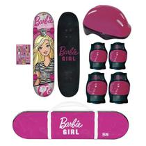 Skate Infantil Barbie Girl com Capacete e Protetores Fun 7619-1B -