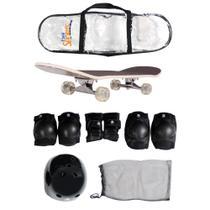 Skate Semi-Pro + Kit Proteção  Joelheiras Cotoveleiras Luvas e Capacete ABS Bel - Belfix