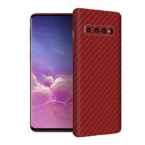 Skin Adesiva p/ Galaxy S10 Fibra de Carbono Vermelha - Viper Decals
