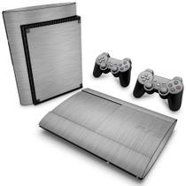 Skin Adesivo para PS3 Super Slim - Aço Escovado Cinza - Pop Arte Skins