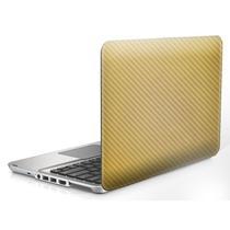 "Skin Adesivo Protetor 4D Fibra de Carbono Universal para Notebook 13,1"" Wide CONFIRA TABELA (4D Dourado) -"