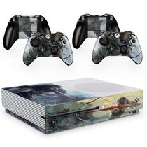Skin Adesivo Protetor para X Box One S e Controles Shadow Rise of Tomb Raider b2 - Skin Zabom