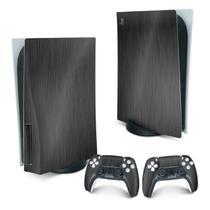 Skin PS5 Playstation 5 Adesivo - Aço Escovado Preto - Pop Arte Skins