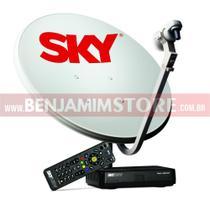 Sky Pre Pago com Recarga 60 Dias + Antena 60cm 17m Cabos LNB -