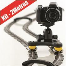 Slider Completo Para Filmagem Com Trilho De 2 Metros + Carrinho + Cabeça Ballhead + Bolsa. - Alhva