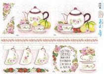 Slim Paper Decoupage SPL1-010 Kit Chá Rosas Lili Negrão 47,3x33,8cm - Litoarte -