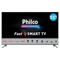 "Smart TV 4K 55"" Philco D-LED Ultra HD PTV55G70SBLSG com Mídia Cast HDR 4 HDMI 2 USB -"