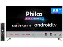 "Smart TV 4K LED 58"" Philco PTV58G71AGBLS Android - Wi-Fi e Bluetooth HDR 4 HDMI 2 USB"