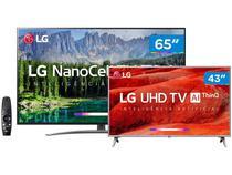 """Smart TV 4K LED 65"""" + Smart TV 4K LED 43"""" LG Wi-Fi - Inteligência Artificial Controle Smart Magic"""