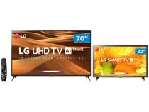 "Smart TV 4K LED 70"" LG 70UM7370PSA Wi-Fi - Inteligência Artificial + Smart TV HD LED 32"""