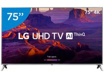 "Smart TV 4K LED 75"" LG 75UK6520 Wi-Fi HDR - Inteligência Artificial Conversor Digital 4 HDMI"