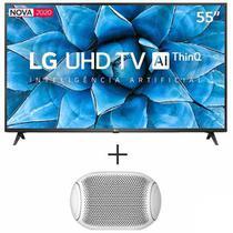 """Smart TV 4K LG LED 55"""" com Controle Smart Magic - 55UN7310PSC + Caixa de Som Portatil XBOOM Go LG com 5W Branca - PL2W -"""