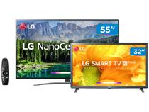 "Smart TV 4K NanoCell 55"" + Smart TV HD LED 32"" LG - Inteligência Artificial Controle Smart Magic"
