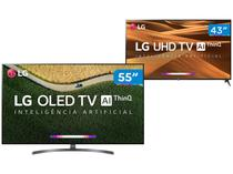 "Smart TV 4K OLED 55"" LG OLED55B9PSB Wi-Fi  - HDR + Smart TV 4K LED 43"" LG 43UM7300PSA Wi-Fi HDR"