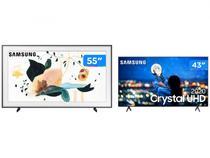 "Smart TV Crystal UHD 4K LED 43"" Samsung  - Wi-Fi Bluetooth + Smart TV 4K QLED 55"" The Frame"
