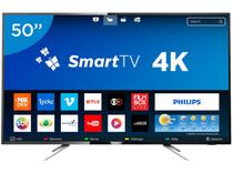 "Smart TV LED 50"" Philips 4K/Ultra HD 50PUG6102/78 - Conversor Digital Wi-Fi 4 HDMI 2 USB DTVi"