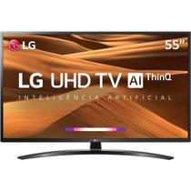 """Smart TV LED 55"""" UHD 4K LG 55UM7470PSA Smart Magic ThinQ AI 3 HDMI 2 USB Wi-Fi -"""
