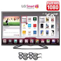 Smart TV LED 60 Polegadas LG Slim 3D TV 4 Óculos 60LA6200 -