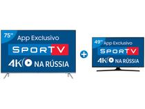 "Smart TV LED 75"" Samsung 4K/Ultra HD 75MU7000 - Conversor Digital Wi-Fi + Smart TV LED 49"" Samsung"