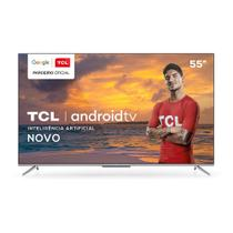 "Smart TV TCL 55"" LED 4K UHD 55P715, Android TV, Wi-Fi, Bluetooth, Comando de Voz Bivolt Prata -"
