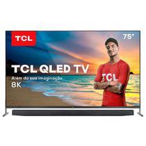 """Smart TV TCL 8K QLED 75"""" com Dolby Vision, Google Assistant e Wi-Fi dual band e Bluetooth integrados - QL75X915 -"""