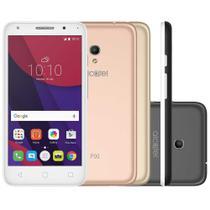 "Smartphone Alcatel PIXI4 Metallic Desbloqueado 5"" 8GB 4G Dual 8MP Android 6.0 Branco Capas Coloridas -"