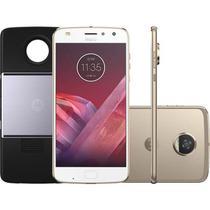 "Smartphone Motorola Moto Z2 Play Ouro Projector Edition DualChip 64GB Tela 5.5"" Câmera 12 MP -"
