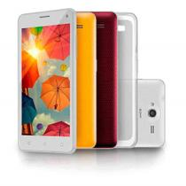 Smartphone MS50 colors Tela IPS 5 pol Branco Quad Core 8MP Celular Dual Chip Multilaser NB256
