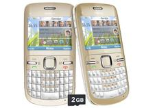Smartphone Nokia C3-00 Dourado Desbloqueado Claro - Câmera 2MP Teclado Qwerty Wi-Fi Cartão 2GB