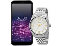 """Smartphone Philco PCS01 64GB Preto 4G Octa-Core - 4GB RAM Tela 5,45"""" + Relógio Masculino Condor"""
