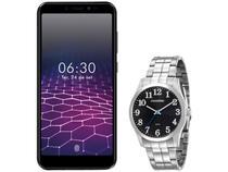 """Smartphone Philco PCS01 64GB Preto 4G Octa-Core - 4GB RAM Tela 5,45"""" + Relógio Masculino Mondaine"""