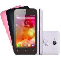 Smartphone Qbex QX X Pocket W4011, Dual Core, Android 4.4, Tela 4, 3G, 5MP, 4GB, Desbloqueado + Capas Colorida -