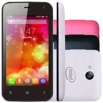 """Smartphone Qbex X-Pocket 4"""" 4GB 3G Câmera Frontal Android 4.4 Preto + Capa Branca e Rosa -"""