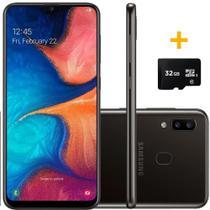 Smartphone Samsung A205 Galaxy A20 Preto 32 GB + Cartão de Memória 32GB -