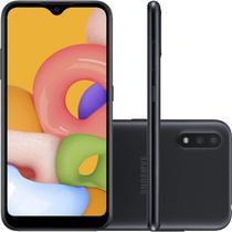 """Smartphone Samsung Galaxy A01 32GB 2GB RAM Tela Infinita de 5.7"""" Câmera Dupla Traseira Preto -"""