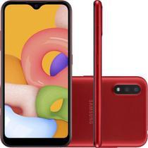"""Smartphone Samsung Galaxy A01 32GB 2GB RAM Tela Infinita de 5.7"""" Câmera Dupla Traseira Vermelho -"""
