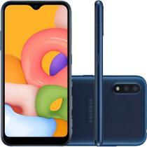 "Smartphone Samsung Galaxy A01 32GB 5,7"" Câmera Dupla 13MP 2MP Frontal 5MP Azul -"