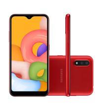 "Smartphone Samsung Galaxy A01 32GB 5,7"" Câmera Dupla 13MP 2MP Frontal 5MP Vermelho -"