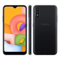 "Smartphone Samsung Galaxy A01 32GB Dual Chip Android Tela Infinita de 5.7"" Octa-Core 2GB RAM Câmera Dupla Traseira 13MP + 2MP - Preto -"