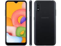 "Smartphone Samsung Galaxy A01 32GB Preto Octa-Core - 2GB RAM Tela 5,7"" Câm. Dupla + Câm. Selfie 5MP -"