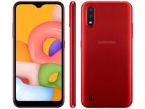 "Smartphone Samsung Galaxy A01 32GB Vermelho 4GB - 2GB RAM Tela 5,7"" Câm. Dupla + Selfie 5MP"