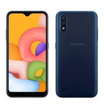 "Smartphone Samsung Galaxy A01, Azul, Tela 5.7"", Android, Câm Traseira 13+2MP e Frontal 5MP, 32GB -"