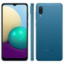 """Smartphone Samsung Galaxy A02 32GB, Tela Infinita de 6.5"""", Câmera Traseira Dupla, Android 10.0, Dual Chip e Processador Quad-Core - Azul -"""