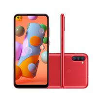 "Smartphone Samsung Galaxy A11 64GB 3GB RAM Câmera Tripla 13MP Tela Infinita 6.4"" - Vermelho -"