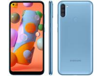 "Smartphone Samsung Galaxy A11 64GB Azul 4G - Octa-Core 3GB RAM 6,4"" Câm. Tripla + Selfie 8MP -"