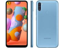 "Smartphone Samsung Galaxy A11 64GB Azul 4G - Octa-Core 3GB RAM 6,4"" Câm. Tripla + Selfie 8MP"