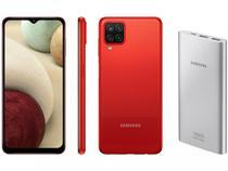 Smartphone Samsung Galaxy A12 64GB Vermelho 4G - 4GB RAM + Carregador Portátil 10000mAh